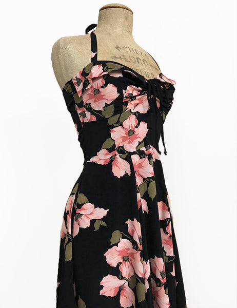 Black & Pink Tropical Nights 1940s Style Marta Halter Dress