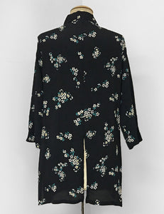 Black & Floral Pocket Posey Print Button Up Frankie Flyaway Top
