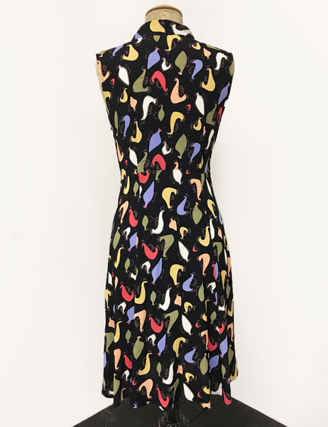 Black Colorful Pollo Loco Print Sleeveless Knee Length Vintage Dress