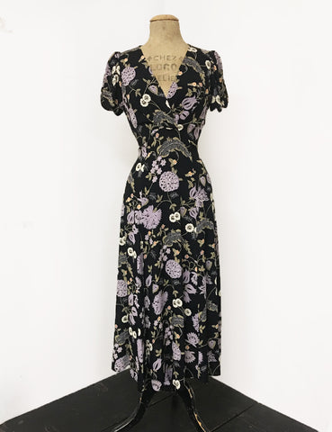Black & Purple Lavender Fields Floral Vintage Inspired Rita Dress