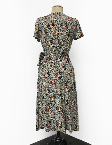 Vintage Inspired Black Colorful Ragtime Floral Biasa Sweetheart Wrap Dress