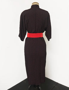 Black & Red Polka Dot Button Front 1940s Manhattan Wiggle Dress