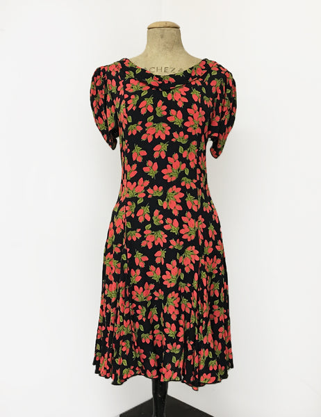 Black & Red Rosebud Print 1930s Venice Beach Balboa Swing Dress