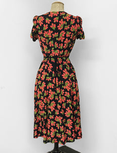 Red & Black Rosebud Print Vintage Inspired Rita Dress