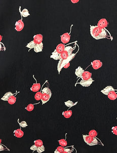 Black & Red Retro Cherry Print Short Sleeve Tea Length Vintage Day Dress
