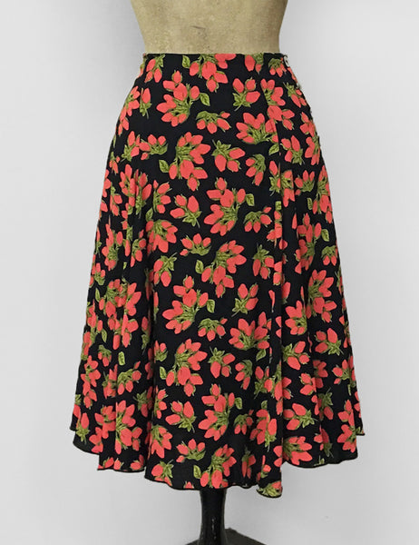 Black & Red Rosebud Floral Venice Beach Balboa Circle Swing Skirt