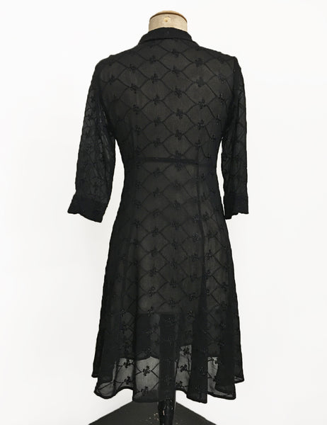 Sheer Black Embroidered Three Quarter Sleeve Vintage Day Dress