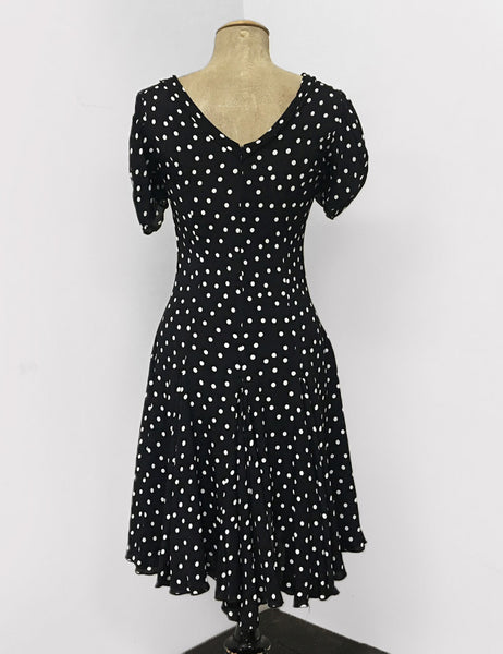Black & White Dime Dot 1930s Venice Beach Balboa Swing Dress