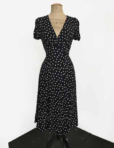 Black Dime Dot Vintage Inspired Knee Length Rita Dress