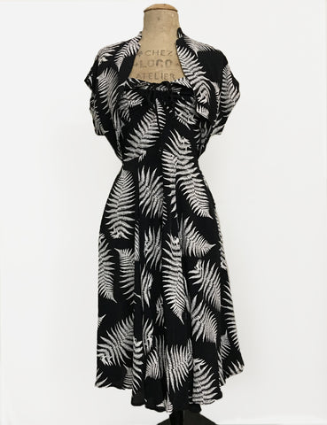 Black & White Pressed Fern Print 1940s Style Marta Halter Dress