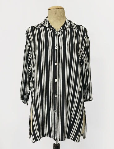 Black & White Noir Stripe Button Up Frankie Flyaway Top
