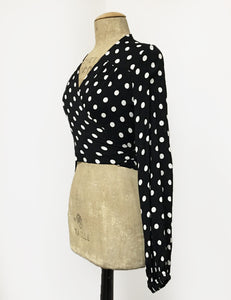 Black & White Big Dot Drama Sleeve Babaloo Tie Crop Top