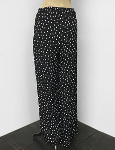 Black & White Dime Dot 1940s Style High Waisted Palazzo Pants