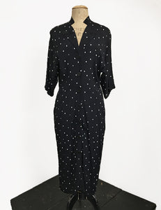 Black & Ivory Square Dot Button Front 1940s Manhattan Dress - FINAL SALE