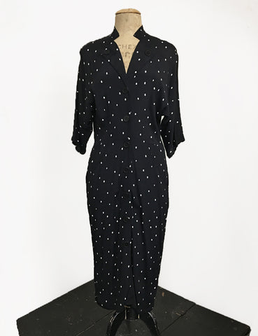 Black & Ivory Square Dot Button Front 1940s Manhattan Wiggle Dress
