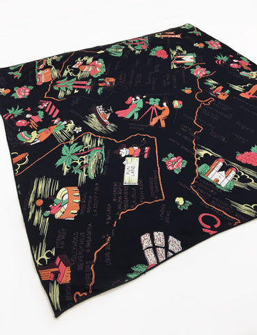 PREORDER - Black California Souvenir Map Print Square Hair & Neck Scarf