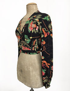 PREORDER - Black California Map Print Vintage Inspired Babaloo Wrap Top