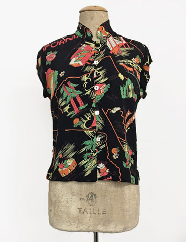 PREORDER - Black California Print 1930s Style Mandarin Collar Tea Timer Top