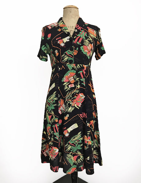 PREORDER - Black California Map Print Short Sleeve Knee Length Vintage Day Dress