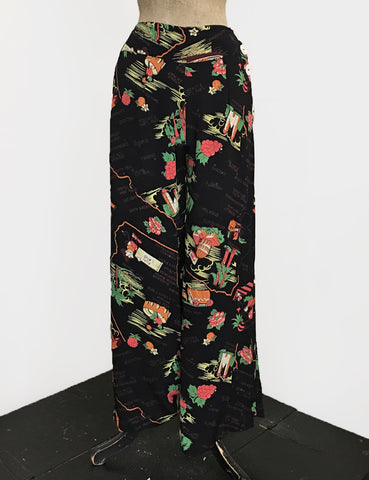 PREORDER - Black California Map Print 1940s High Waisted Palazzo Pants