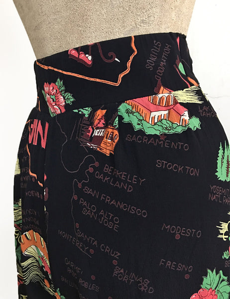 PREORDER - Black California Map Print High Waisted Vintage Inspired Shorts