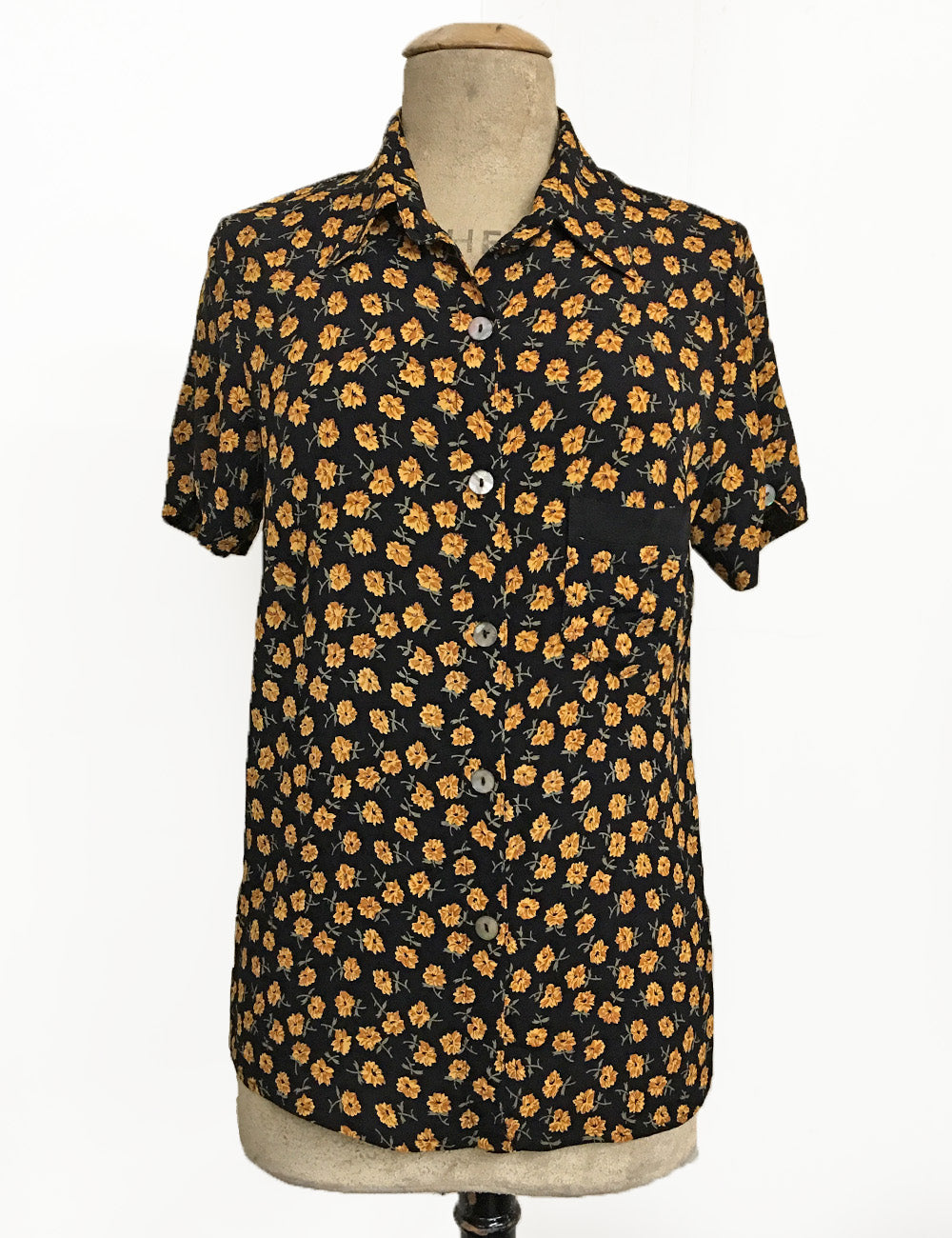 Dandelion Print Button Up Short Sleeve Camp Shirt