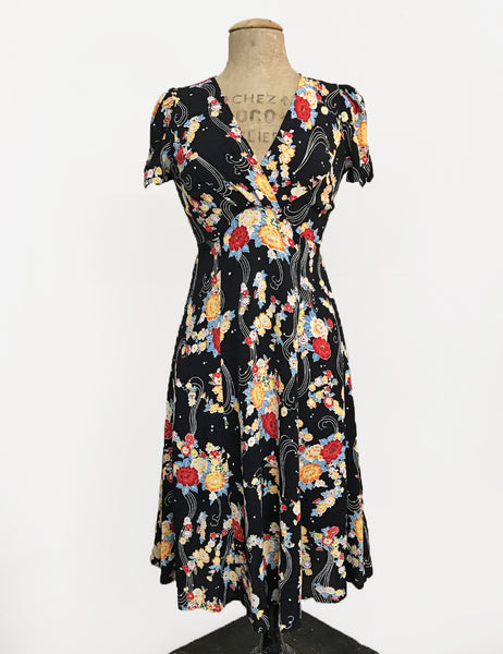Black Floral Breeze Vintage Inspired Knee Length Rita Dress
