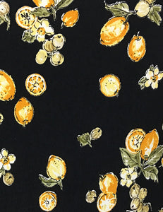 Black Lemon Print Mandarin Collar Button Up Tea Timer Top