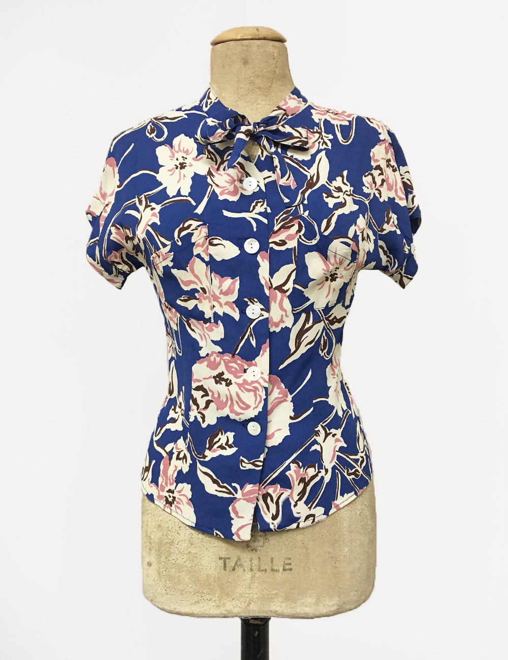 Blue Deco Floral Print 1940s Style Amanda Tie Blouse - FINAL SALE