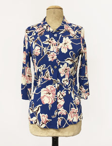Deco Blue Floral Doris Button Up Shaped Shirt