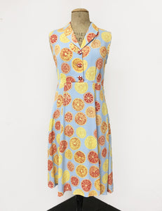 Blue Summer Orange Slices Sleeveless Knee Length Vintage Dress