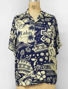 Blue South Seas Soft Men's Button Up Tiki Sonny Shirt