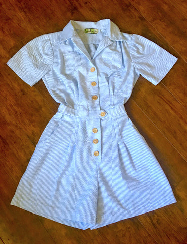 PREORDER - Scout for Loco Lindo Blue Seersucker 1940s Carolina Romper
