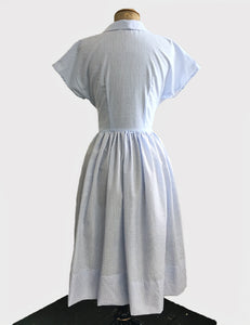 Scout for Loco Lindo 1940s Style Blue Seersucker Willow Dress