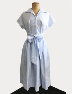 PREORDER - Scout for Loco Lindo 1940s Style Blue Seersucker Willow Dress