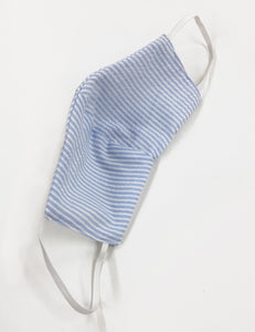 Blue Seersucker Handmade Washable Face Mask