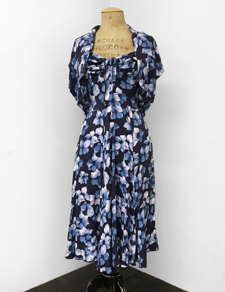 Shades of Blue Tropical Floral Print 1940s Marta Halter Swing Dress