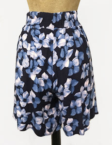 Shades of Blue Tropical Floral Print Soft High Waisted Retro Shorts