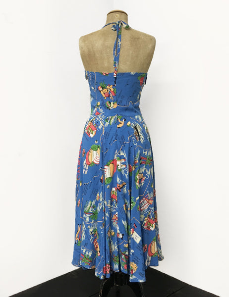 Exclusive Pacific Blue California Map Print 1940s Marta Halter Swing Dress
