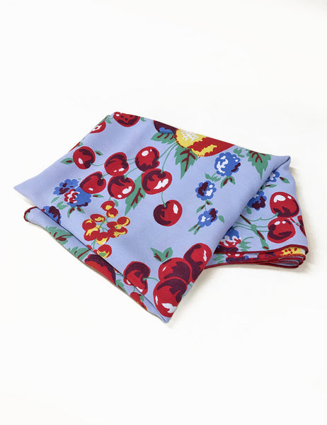 Light Blue Fruit Cocktail Print Square Hair & Neck Scarf
