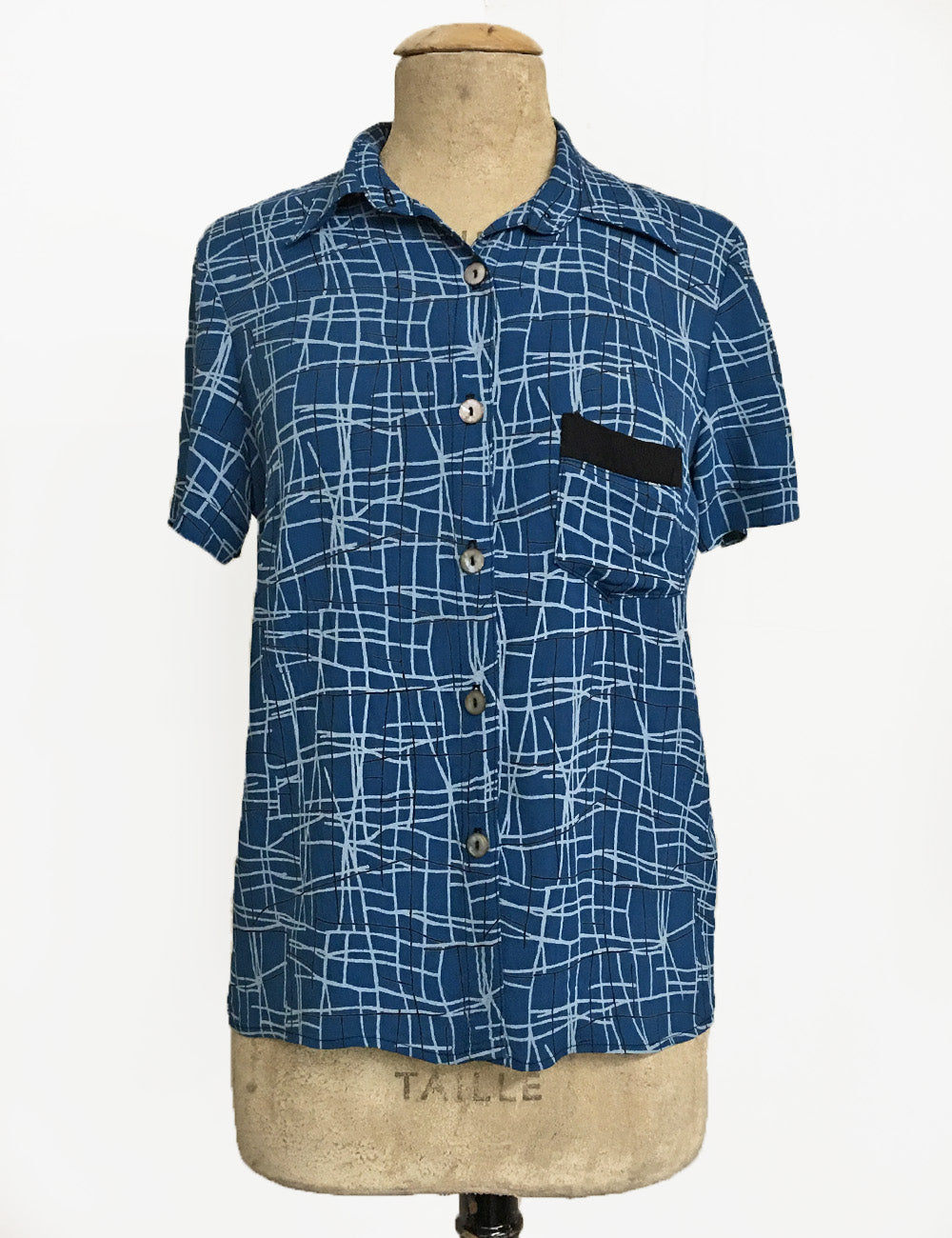 Marine Blue Mid-Century Lines Button Up Short Sleeve Camp Shirt