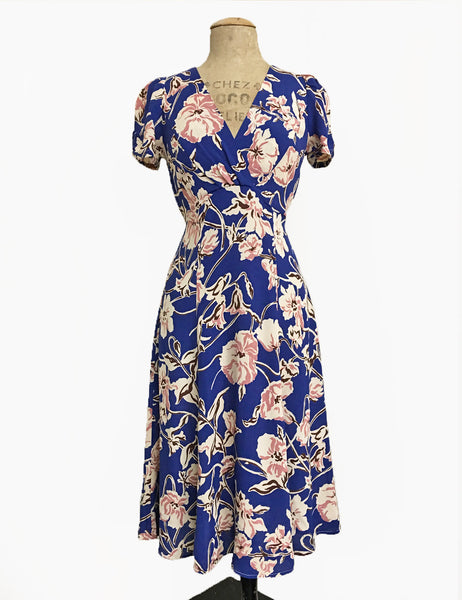 Blue Art Nouveau Floral Knee Length Rita Dress