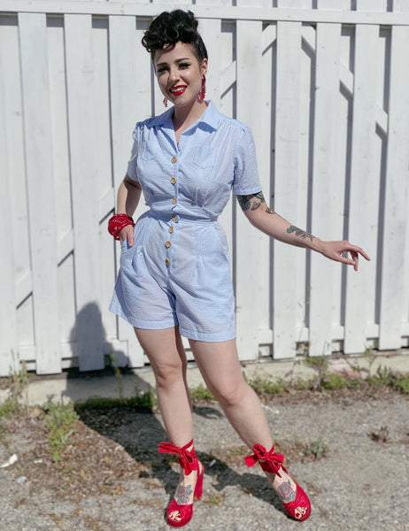 Scout for Loco Lindo Blue Seersucker 1940s Carolina Romper