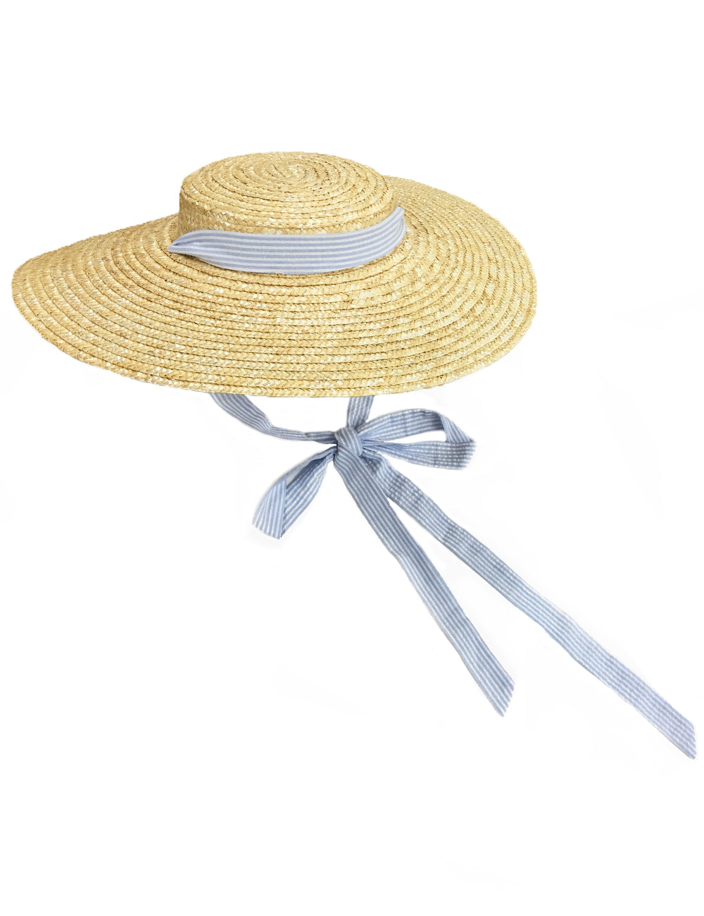Blue Seersucker Vintage Style Woven Large Brim Straw Hat