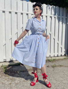 Scout for Loco Lindo Blue Seersucker 1940s Button Front Petunia Skirt