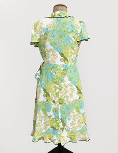 Green Bohemian Floral Rayon Ruffle Wrap Dress