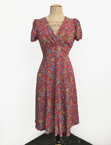 Red Colorful Paisley Print Retro Inspired Knee Length Rita Dress