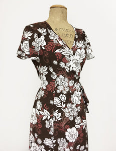Retro Brown Floral Biasa Sweetheart Wrap Dress - FINAL SALE