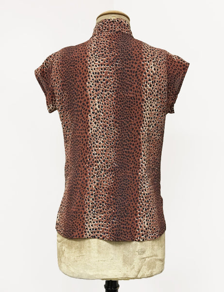 Brown Leopard Print 1930s Tea Timer Button Up Blouse
