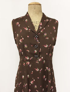 Chocolate Smores Floral Print Sleeveless Knee Length Vintage Dress